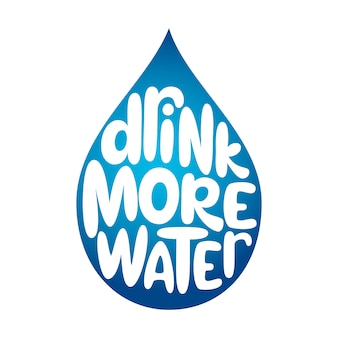 Drink water belettering