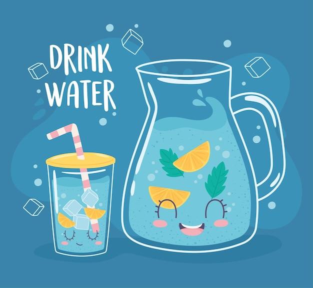 Drink water glazen kan