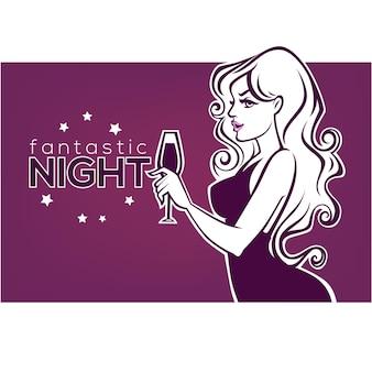 Drink with me, commerciële achtergrond met afbeeldingen van drank en meisje silhouet