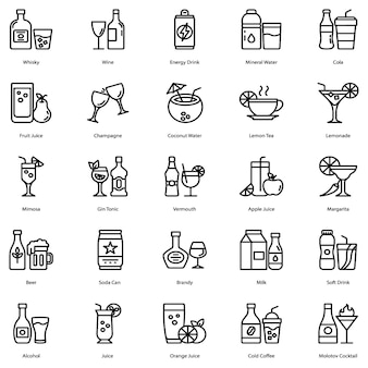 Drinken en cocktail pictogrammen pack
