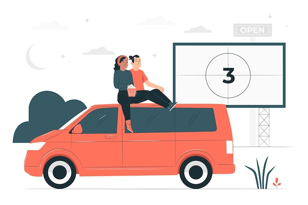 Drive-in bioscoop concept illustratie