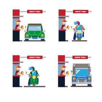Drive thru icon collectie set, motor, vrachtwagen en auto in plat design