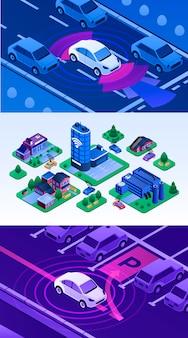 Driverless auto illustratie set. isometrische reeks van bestuurderloze auto