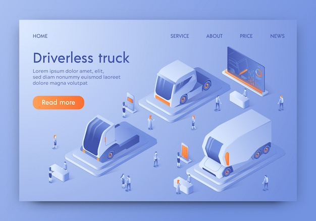 Driverless truck banner unmanned auto, future cars