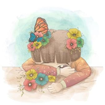 Droevig meisje verstopt achter haar hand met bloemen en vlinders bovenop haar haar. vector cartoon hand getrokken