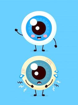 Droevig ongezond ziek en gelukkig glimlachend gezond sterk menselijk oogbolorgaan.