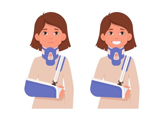 Droevige en gelukkige vrouw met gebroken arm