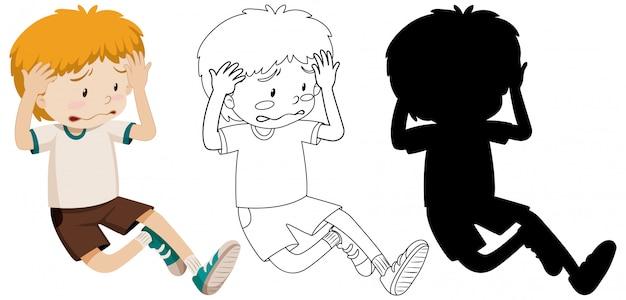 Droevige jongen teleurgesteld met zijn overzicht en silhouet