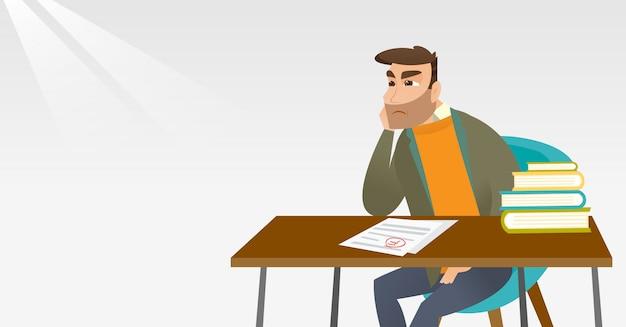 Droevige student die testdocument met slecht teken bekijkt.