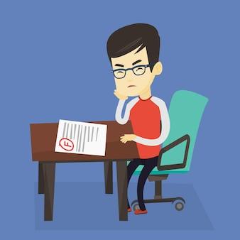 Droevige student die testpapier met slecht teken bekijkt.