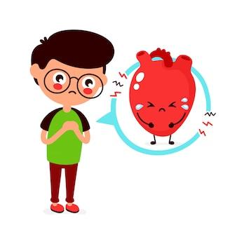 Droevige zieke jonge man met hartprobleem