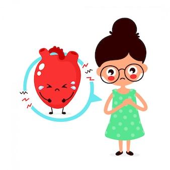 Droevige zieke jonge vrouw met het karakter van het hartprobleem.