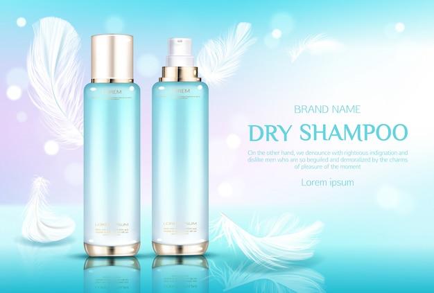 Droge shampoo cosmetische flessen, tubes met gouden spuitdoppen op lichtblauw met veren.