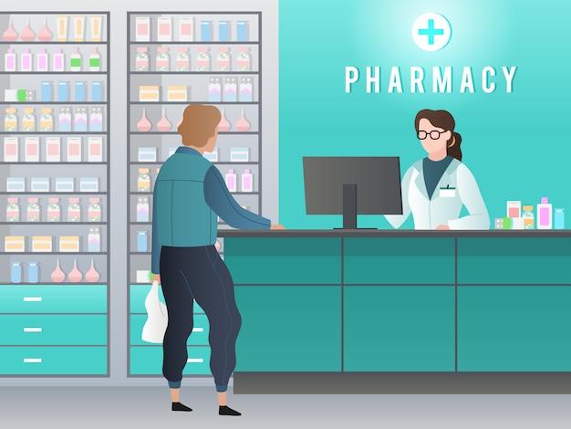 Drogisterij. apotheek met apotheker, klant met recept koopt medicijnen in medische winkel. farmaceutische retail vector concept