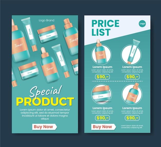 Drogisterij social media strory ontwerp nieuw product korting prijslijst speciaal product
