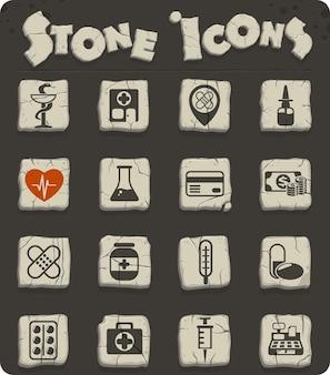 Drogisterij vectorpictogrammen op stenen blokken in de stijl van het stenen tijdperk voor web- en gebruikersinterfaceontwerp