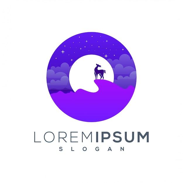 Dromen herten logo-ontwerp klaar voor gebruik