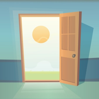 Dromen komen uit. open deur vectorillustratie.
