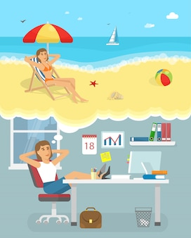 Dromen over vakantie illustratie