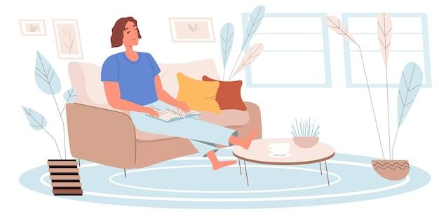 Dromend mensenconcept in vlak ontwerp. gelukkige vrouw zit, droomt en geniet van rusten, thuis een boek lezen. jong meisje zit in een gezellige woonkamer. verbeelding mensen scène. vector illustratie