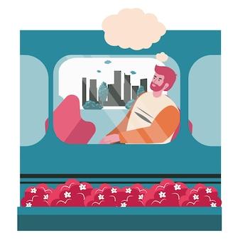 Dromend mensenscène concept. man zit in treinwagon en denkt met lege bel boven het hoofd. verbeelding, ontspanning, dagdromen mensen activiteiten. vectorillustratie van karakters in plat ontwerp