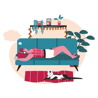 Dromend mensenscène concept. vrouw liegt, luistert naar muziek, droomt met lege bubbel boven het hoofd. verbeelding, ontspanning, dagdromen mensen activiteiten. vectorillustratie van karakters in plat ontwerp