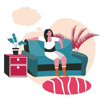 Dromend mensenscène concept. vrouw zittend op de bank thuis en denken met lege zeepbel boven het hoofd. verbeelding en dagdromen mensen activiteiten. vectorillustratie van karakters in plat ontwerp