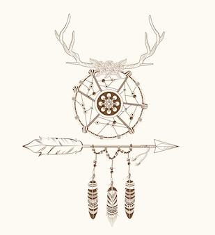 Dromenvanger hoorns pijl veren decoratie