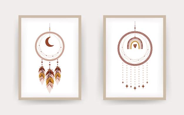 Dromenvanger met regenboog en maan in boho-stijl.