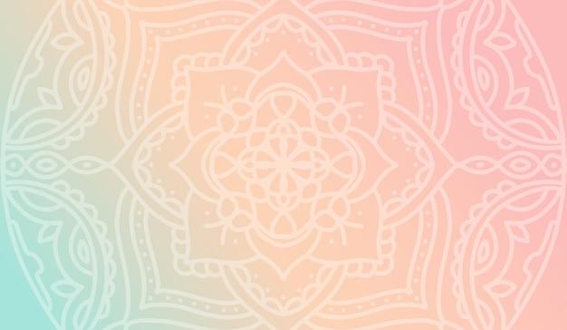 Dromerig perzik roze gradiëntbehang met mandalapatroon