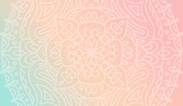 Dromerig zacht gradiëntbehang met mandala-patroon voor yogaschool