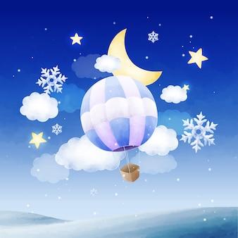 Dromerige aquarel hete luchtballon op besneeuwde nacht