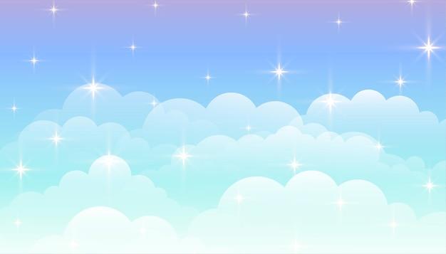 Dromerige magische wolken met sterren Gratis Vector
