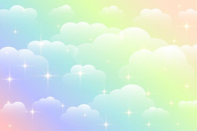 Dromerige mooie de wolkenachtergrond van de regenboogkleur
