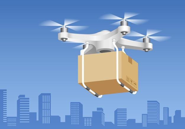 Drone-bezorgtechnologie met doos