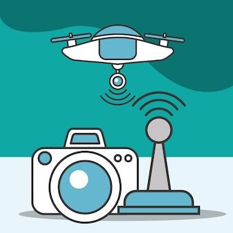 Drone camera foto-antenne signaaltechnologie futuristisch
