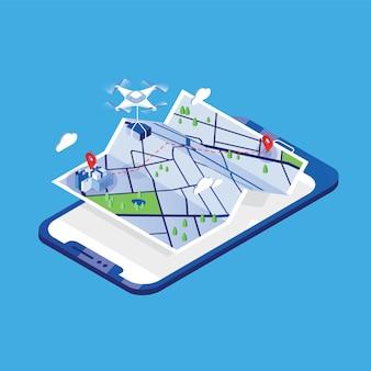 Drone draagt pakket en vliegt boven papieren stadsplattegrond en gigantische mobiele telefoon