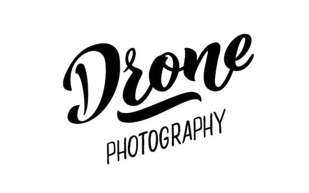 Drone fotografie vector hand tekenen belettering voor projecten website visitekaartje logo vliegen