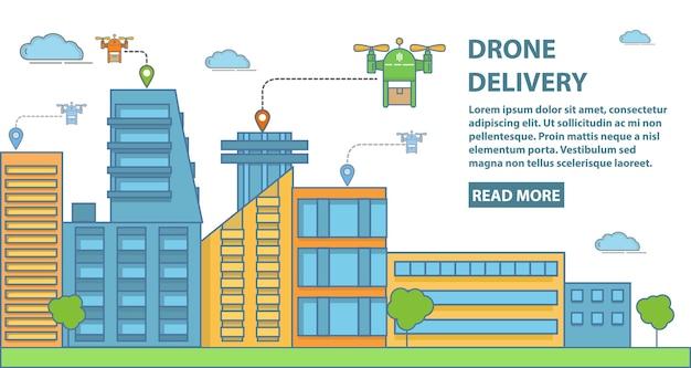 Drone levering horizontale banner in vlakke lineaire stijl