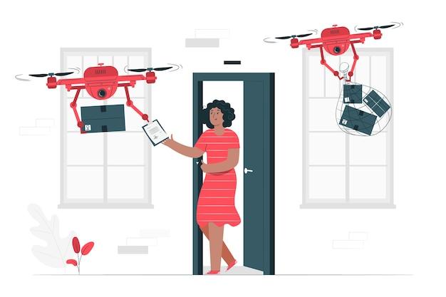 Drone levering illustratie concept