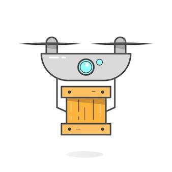 Drone leveringsconcept. copter- of quadcopter-service, bestelling, wereldwijde verzending. moderne ontwerp vectorillustratie.
