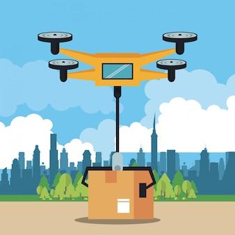 Drone levert een doos in de stad