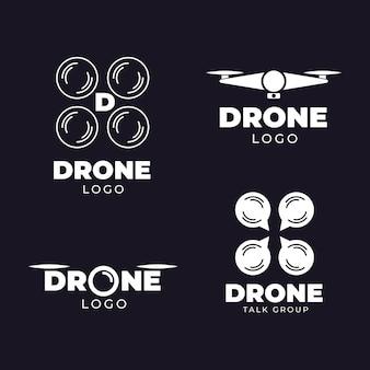 Drone logo collectie plat ontwerp