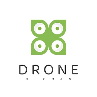 Drone logo ontwerpsjabloon landbouw drone natuur luchtfoto logo