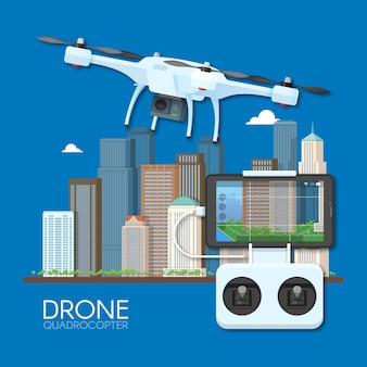 Drone met afstandsbediening vliegen over de stad. luchtfoto drone met camera die fotografie en video concept illustratie
