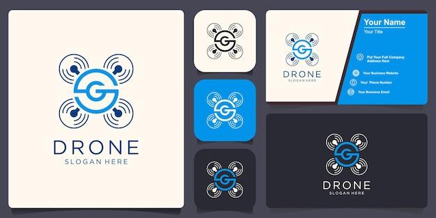 Drone met g-logo-ontwerpinspiratie
