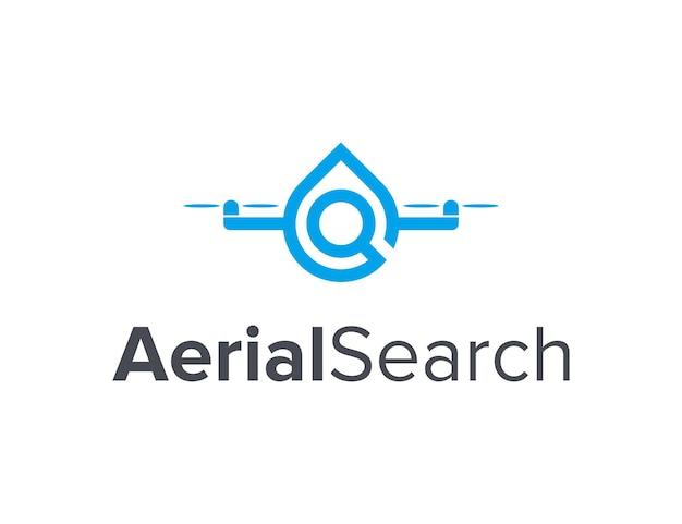 Drone met waterdruppel en vergrootglas eenvoudig gestroomlijnd creatief geometrisch modern logo-ontwerp