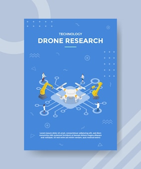 Drone onderzoekstechnologie concept voor sjabloonbanner en flyer met isometrische stijlvector
