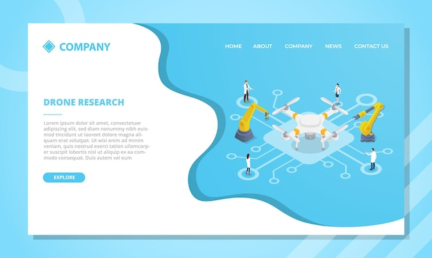 Drone-onderzoekstechnologieconcept voor websitesjabloon of landingshomepage met isometrische stijlvector