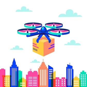 Drone over het stadslandschap
